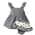 Baby Girl Clothes kids brand Newborn baby girls clothing sleeveless Stripe belt t-shirts+white lace Shorts suit infant set bebes
