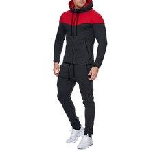 Men Track Suit Casual 2 Piece Set Pure cotton Fashion Color Block Hooded Sportswear Sweatsuit For Male Survetement Sportsuit