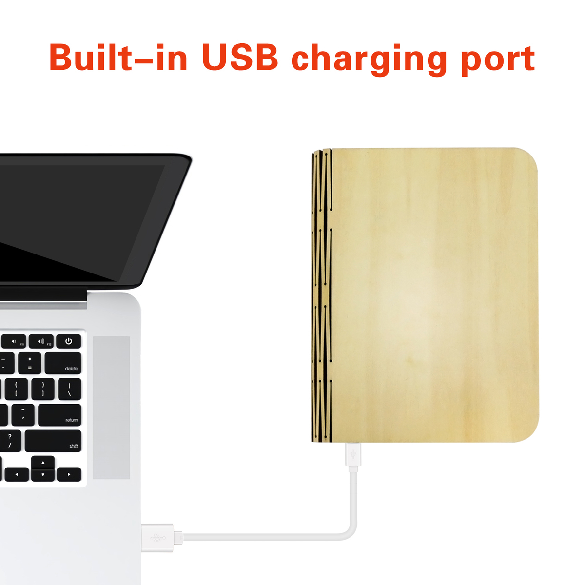 Hiliwon Led Book Light Wooden Cover Book Shaped Usb
