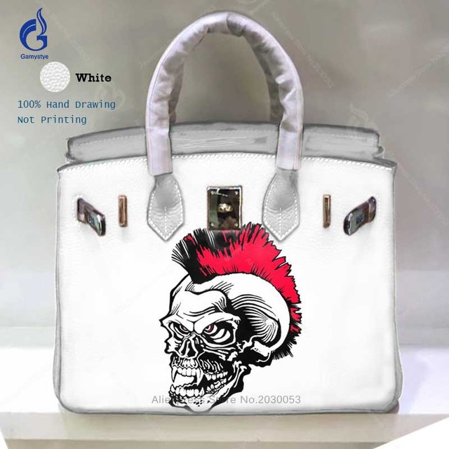 518d3939242a Personality Designer Bags for Women 2018 Real Genuine Leather Crossbody  Shoulder Bag Hand Painted Skull Lady Handbags sac a main