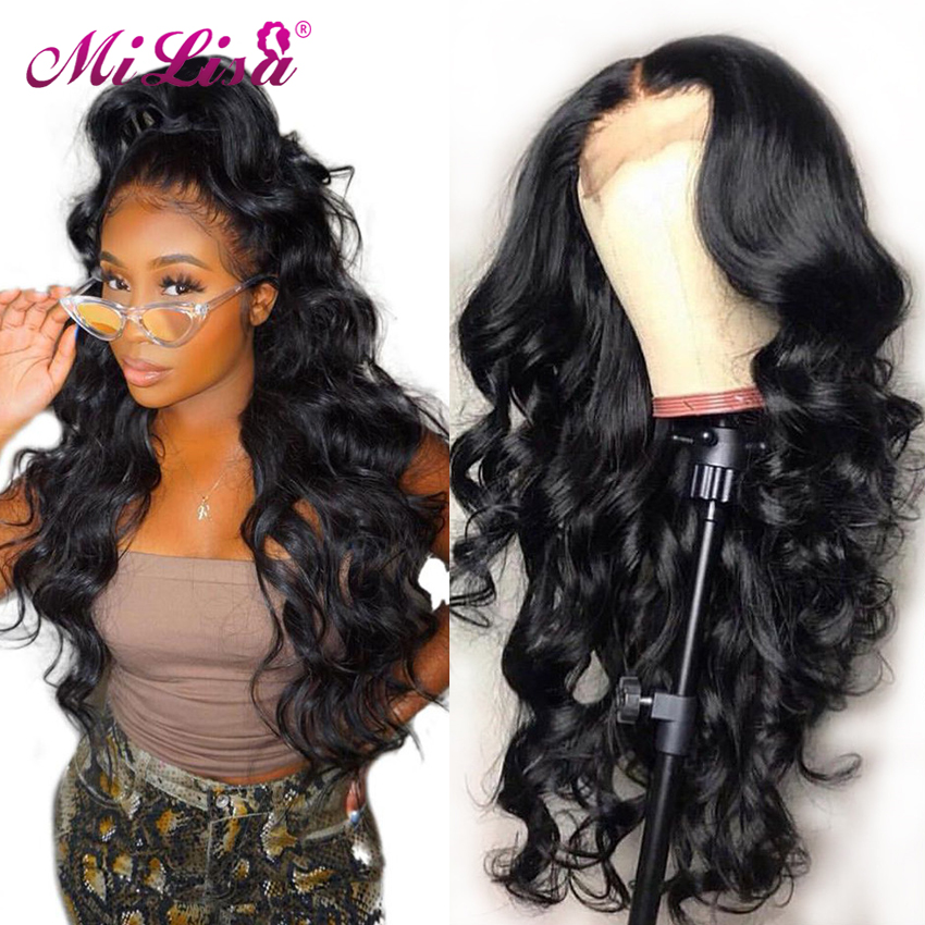Closure Wig Human-Hair-Wigs U-Part Body-Wave Black Women 26inch Remy-Peruvian 4X4