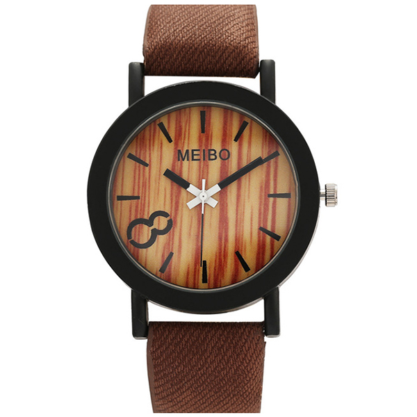 MEIBO women Quartz Watches Casual Wooden Color Leather Strap Wristwatch femininos Clock Gift dark brown биде подвесное ideal standard e772201 connect