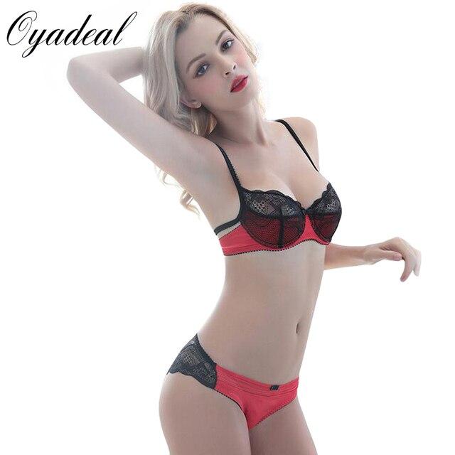 02d9c341d Oyadeal Lady Lace Translucent cotton Bra Set Top thin section Underwear  Women Lingerie Sexy Panties And
