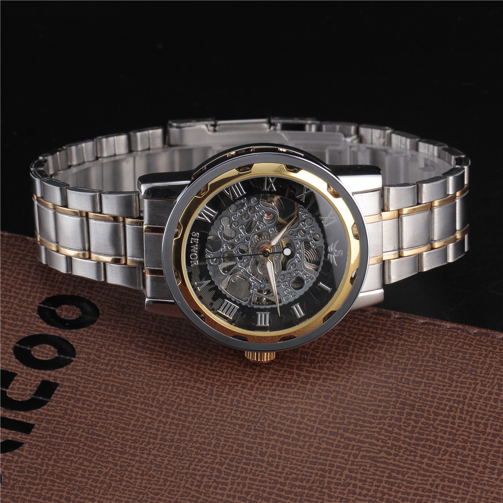 SEWOR Gold Men Skeleton Mechanical Watch Stainess Steel Steel Hand - Relojes para hombres - foto 4