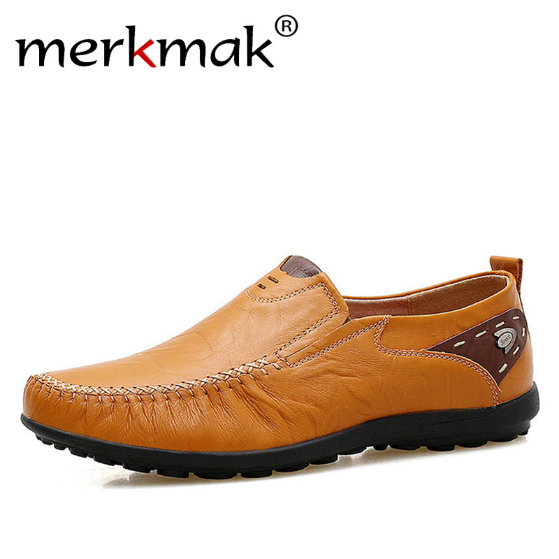 Merkmak Weichem Leder Männer Müßiggänger New Handgemachte Freizeitschuhe Männer Mokassins Für Männer Comforable Leder Flache Schuhe große größe 39-47