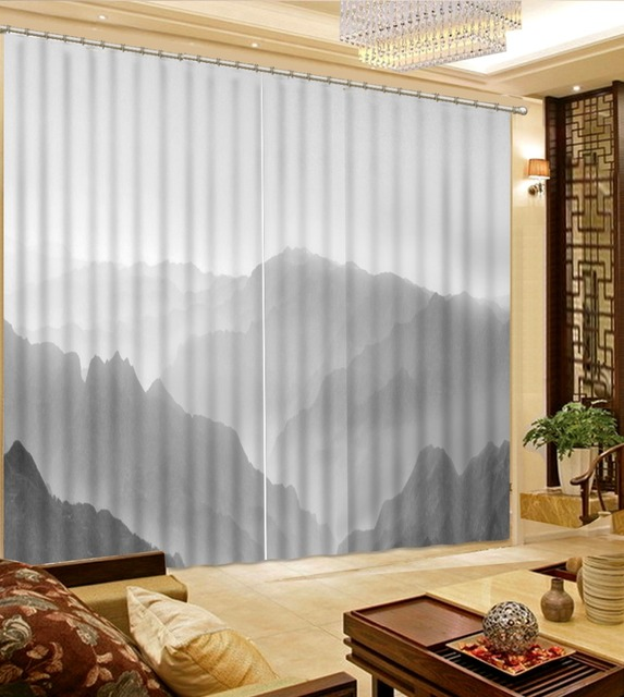 US $88.0 56% OFF|Vorhang dekoration 3d vorhänge schwarz weiß landschaft  fotodruck vorhänge mode dekor dekoration für schlafzimmer in Vorhang ...