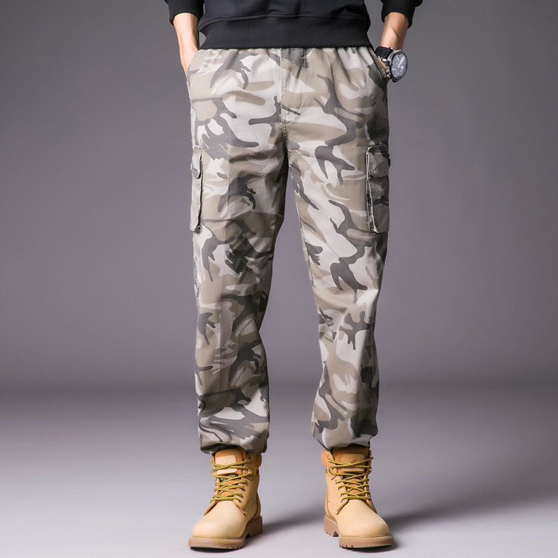 Military Cargo Pants Men Elastic Waist Trousers Casual Sweatpants 2019 Fashion Mens Camouflage Streetwear HD023