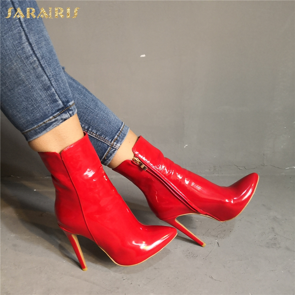 SARAIRIS marque Design grande taille 34-47 personnalisé femmes chaussures femme Sexy bout pointu talons hauts chaussures femmes bottines