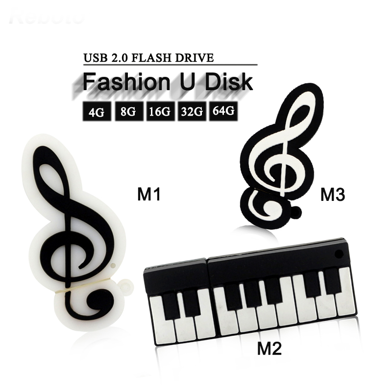 Reboto usb flash drive 64gb piano music note 4gb 8gb16gb 32gb memory stick usb flash card creative U disk silicone pen drive