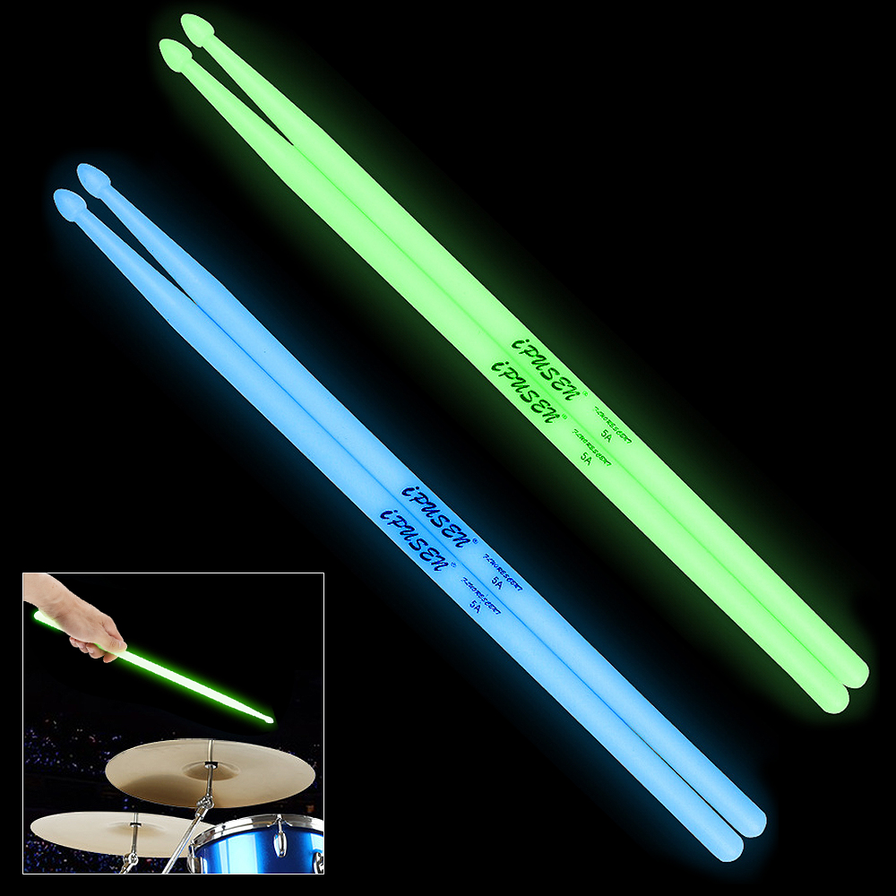 High Quality Portable Noctilucent 5A Drum Stick Glow In The Dark Stage Performance Luminous Drumsticks 2 Colors Optional