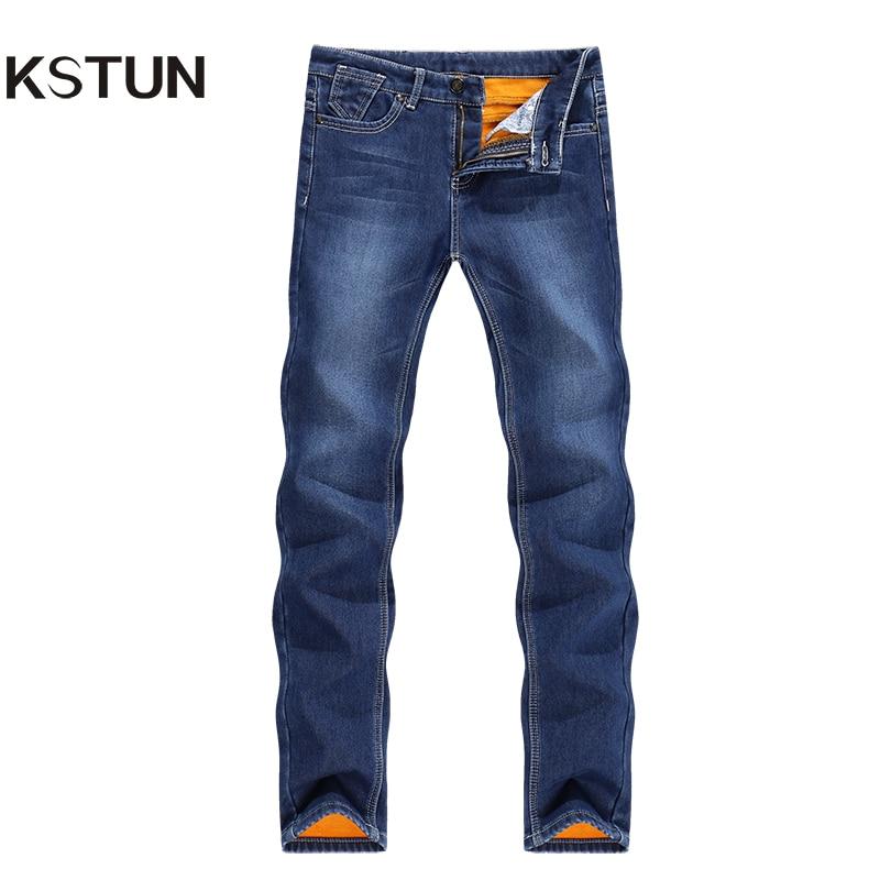 KSTUN New Winter Jeans Men Warm Soft Jeans Skinny Blue Stretch Slim Thicken Denim Pants Mens Trousers Male Heat Insulated Hombre men s cowboy jeans fashion blue jeans pant men plus sizes regular slim fit denim jean pants male high quality brand jeans