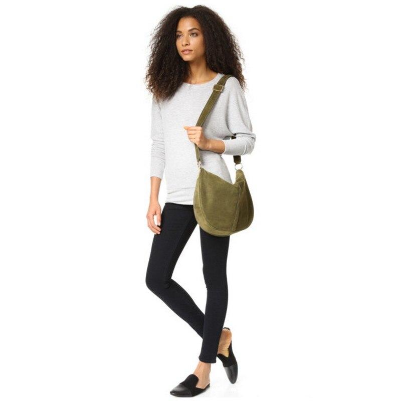 Women Genuine Leather Messenger Bag Casual Vintage Simple Trendy Hobos dark khaki Nubuck Suede Feminine Over Shoulder Bag dark grey nubuck leather handbag