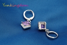 Yunkingdom New small drop earrings for women square  purple zirconia fashion jewelry