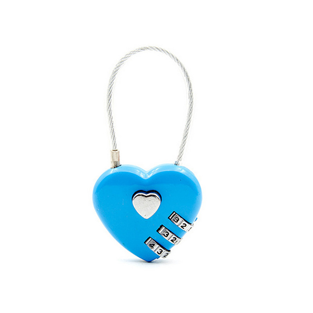 Heart-Shaped 3 Dial Digit Travel Lock