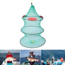 1 PCS Round Crab Fish Net Metal Frame Nylon Mesh Foldable Fishing Net 3 layer with 3 Floating Crab Fish Care Fishing Net