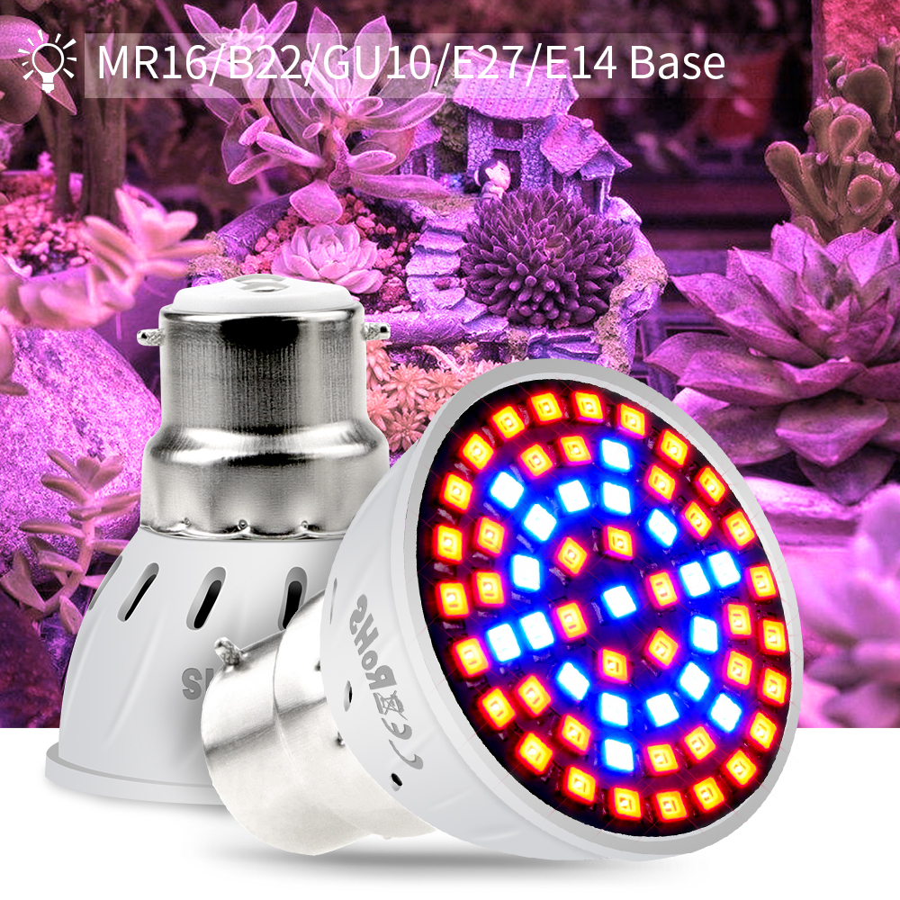 GU10 Full Spectrum E27 Led Plant Grow Light E14 Led Growing Lamp MR16 220V B22 Bulb For Plants Seedling Greenhouse Hydroponics