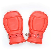 Red PU Leather Locking Goth Padded Mittens Gloves Dog Paw Palm Bondage Restraints Sex Toys For Couples Adult Game Sex Products