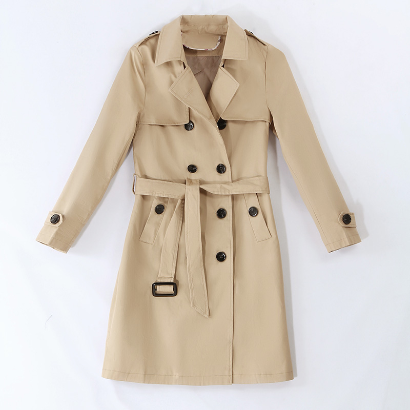 Harajuku Slim Double-breasted   trench   coat Medium length 2019 new Korean version large size spring autumn coat female z27