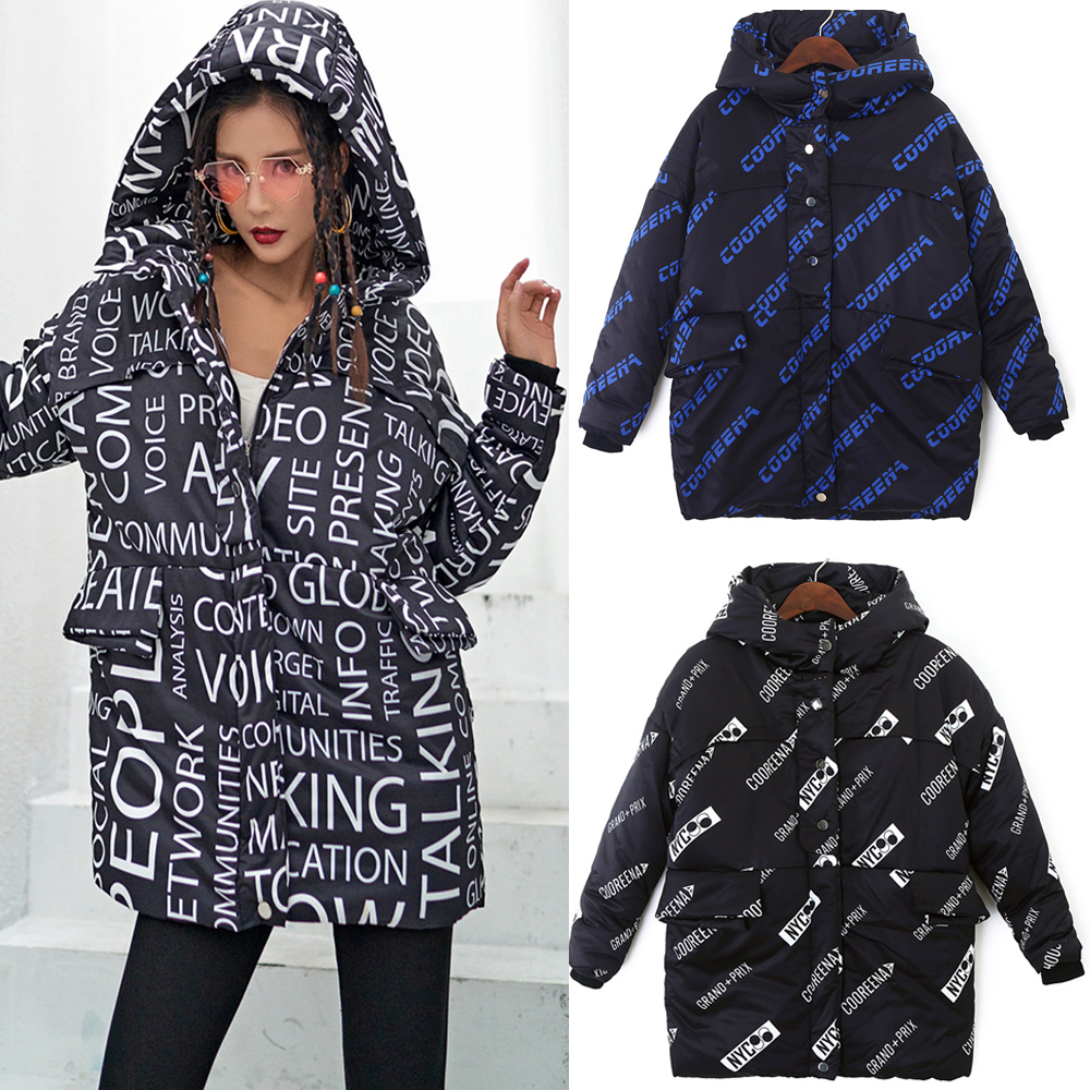 9 Styles Women's Winter Jackets Casual Thick Hooded Harajuku Zipper Coats Letter Fashion Female Jacket Winter Autumn Warn Coat