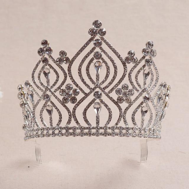 Prata Branco Cristais Strass Tiara de Casamento Damas de Honra de Noiva Rainha Princesa Pageant Partido Crown Cabelo Pente THSC-HG530 Z50