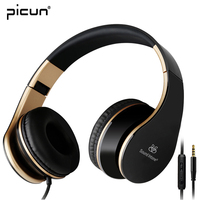 Picun I65 Headphones With Microphone And Volume Control Foldable Headset For IPhone 6 6s IPad IPod