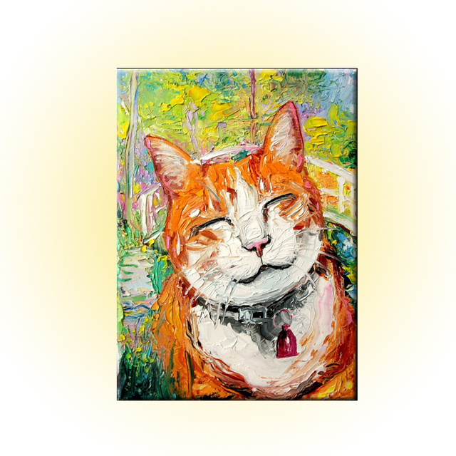 Bright Colors Happy Animal Smile Cat Knife Oil Painting On Canvas For Home Decoration Works