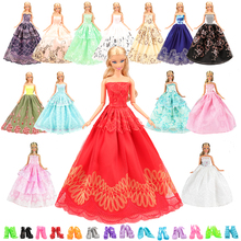 2019 newest fashion handmade lace long tail party dress 15 items/set=5 random pick+10 Shoes for barbie doll making toys