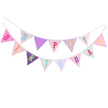 New Happy Birthday Banner flags Personality Party Bunting Decor Photo Shot Garland Decoration