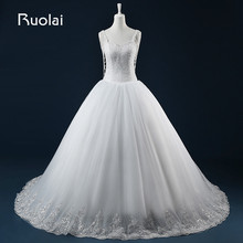 Real Photo Heavy Beaded Top Spaghetti Straps Sweetheart Ball Gown Wedding Dresses Dubai Lace Edge Pearls Bridal Gown FW78
