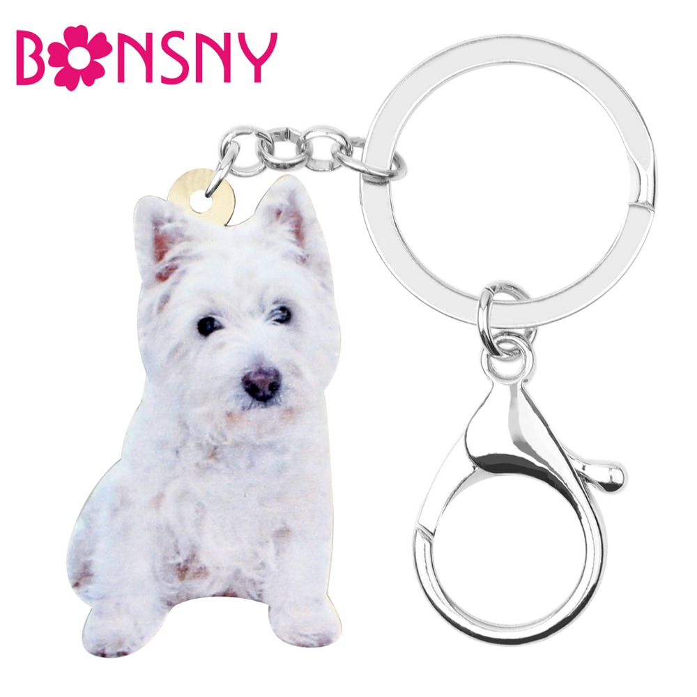Bonsny Acrylic Sweet West Highland White Terrier Key Chains Keychain Rings Animal Pet Jewelry For Women Teens Girl Decoration