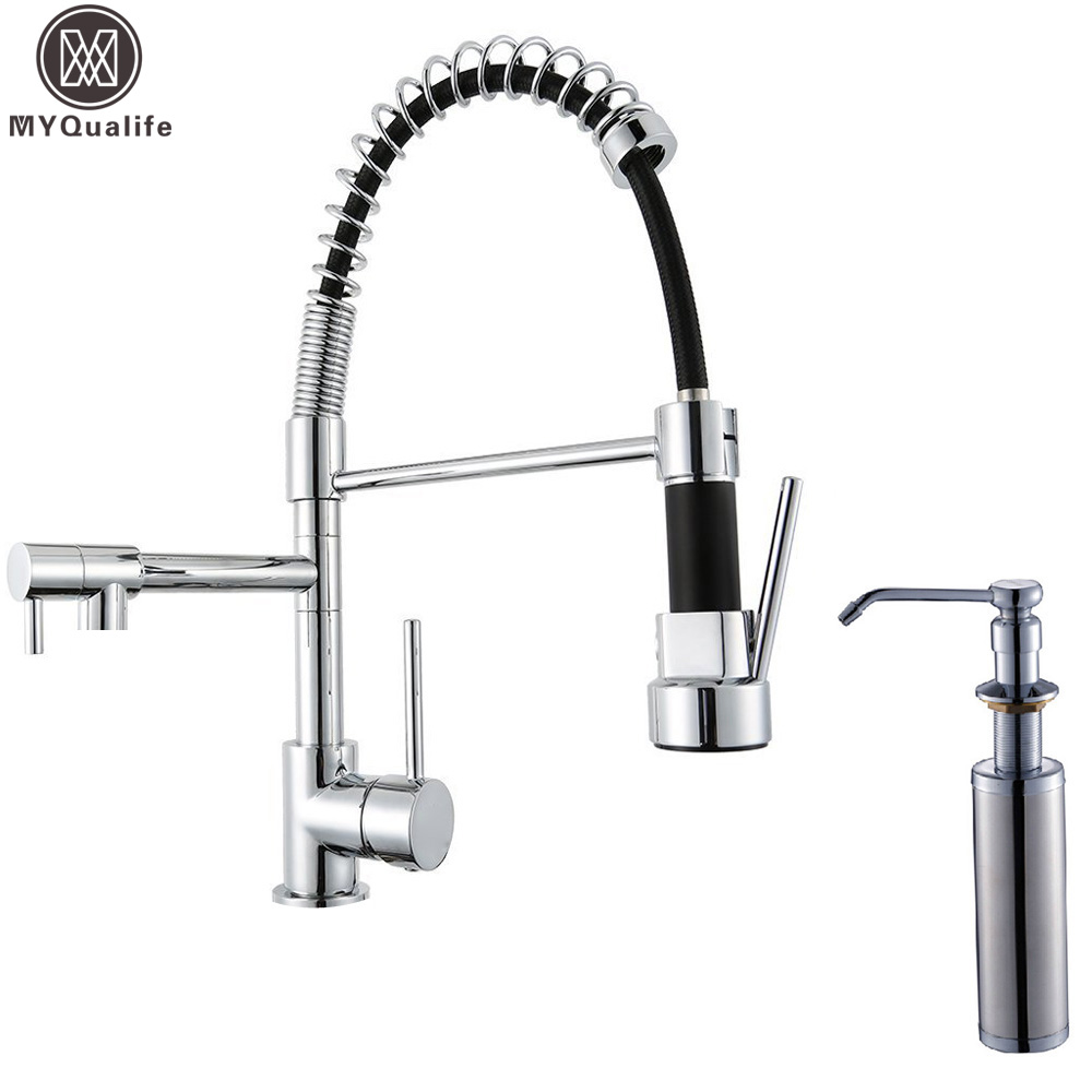 Brass Kitchen Faucet With Soap Dispenser