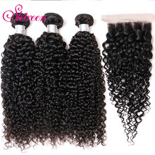 Brazilian Afro Kinky Curly Weave Human Hair Extensions Curly Bundles With Closure 4/5 piece Remy Hair Weave Tissage Bresilienne(China)