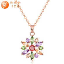 Trendy Colorful Flower Necklace & Pendants Fashion Rhinestone Crystal CZ Women Chain Long Pendant Necklaces Bijoux Chain Jewelry