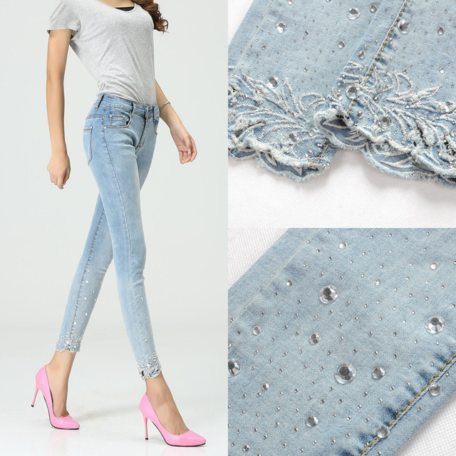 2015 summer women's pencil pants casual skinny Lady jeans at high waist jeans skinny Light blue stretch pants