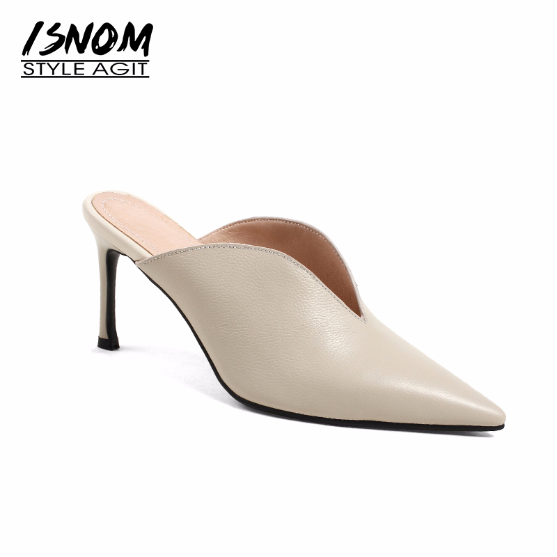 ISNOM Sheep Leather High Heels Women Slipper Pointed Toe Thin Heels Buckle Footwear Summer Fashion 2019