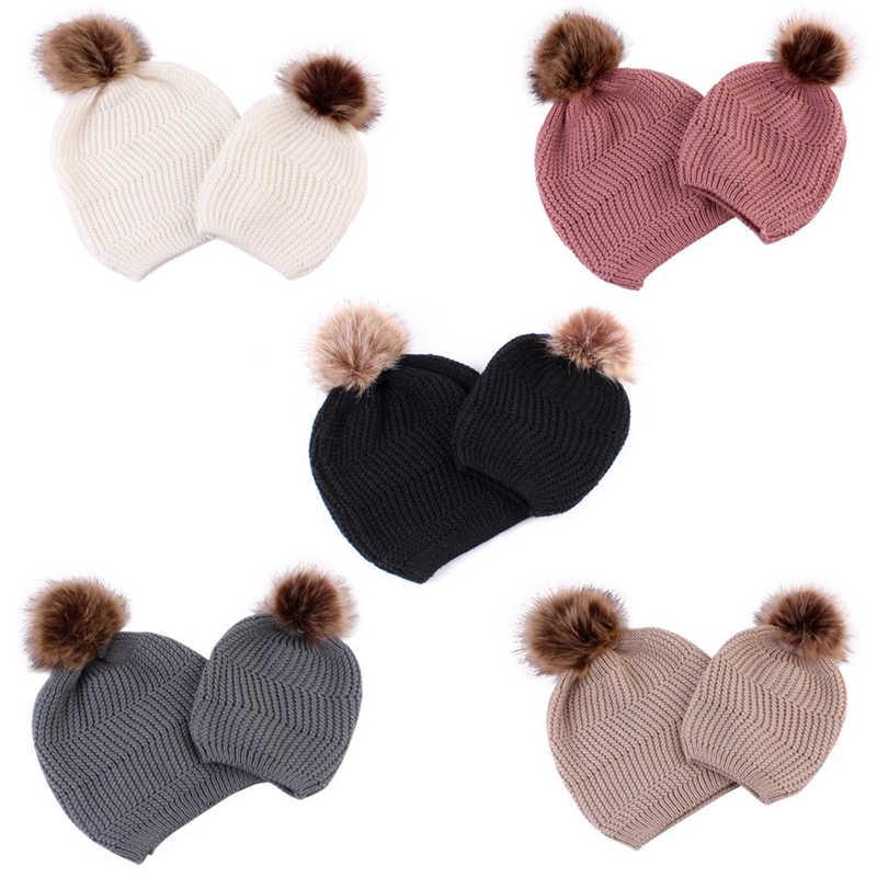แฟชั่นครอบครัวหมวกแม่เด็กถัก Beanies เด็กหมวก Pompom เด็กทารกหมวกเด็กหมวกฤดูหนาวหมวกอบอุ่น