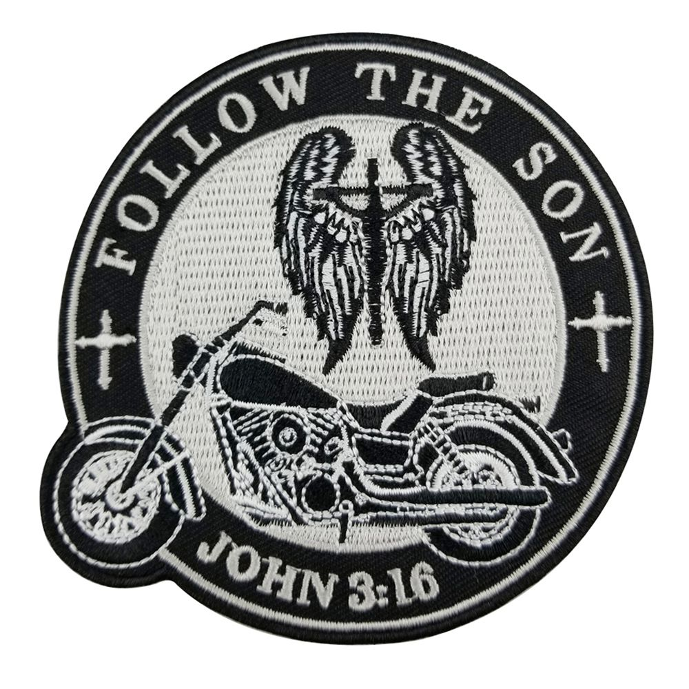 LEFT MOTORCYCLE BLACK//SILVER EMBROIDERE IRON ON PATCH