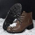 Bottes femmes kuyupp felpa corta de las mujeres botas de cuero suave 2016 moda a prueba de agua zapatos botas de invierno cálido nieve botines dx8