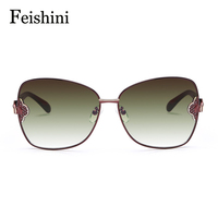FEISHINI High Quality Alloy Fatigue Resistance UV400 Glasses Butterfly True Visual Color Vintage Sunglasses Women Brand