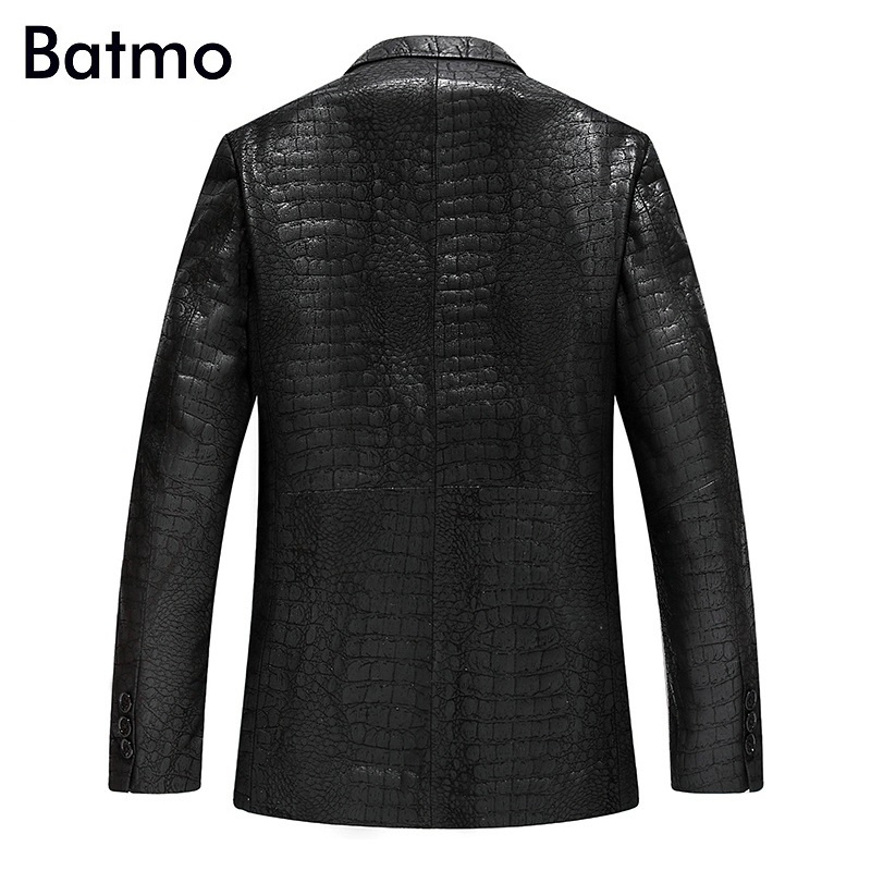Batmo 2019 new arrival spring high quality sheepskin real leather jackets men ,slim leather blazer men size L-4XL  YXG4201A