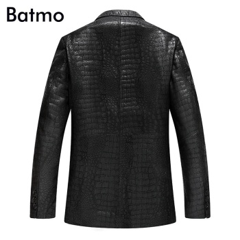 Batmo 2021 new arrival spring high quality leather jackets men,slim leather blazer men size L-4XL  YXG4201A