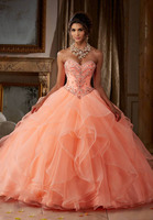 Coral Elegant Quinceanera Dresses with Frils 2019 Real Pictures Life Sexy Crystal Organza Sweet 15 16 Prom Gowns for Pageant
