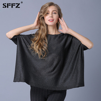 SFFZ 2019 New Women Knitted Sweaters Casual Plus Size Pullover Sweater Batwing Short Sleeve Woman Loose Sweater and Pullovers
