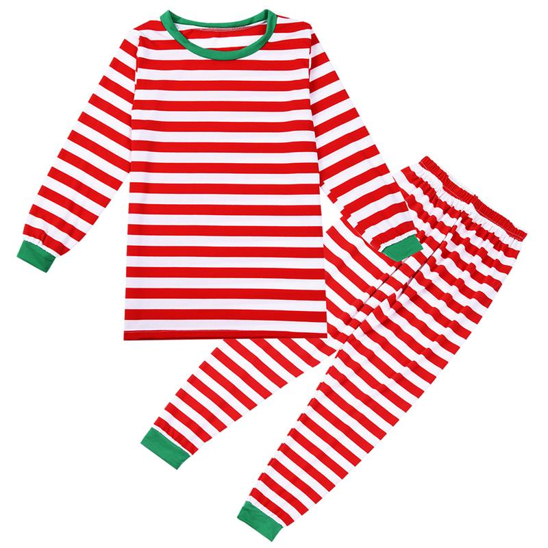 Women Sleepwear Set Christmas Pajama Set Stripe Long Sleeve Pajama Outfits with Rib Cuff ...