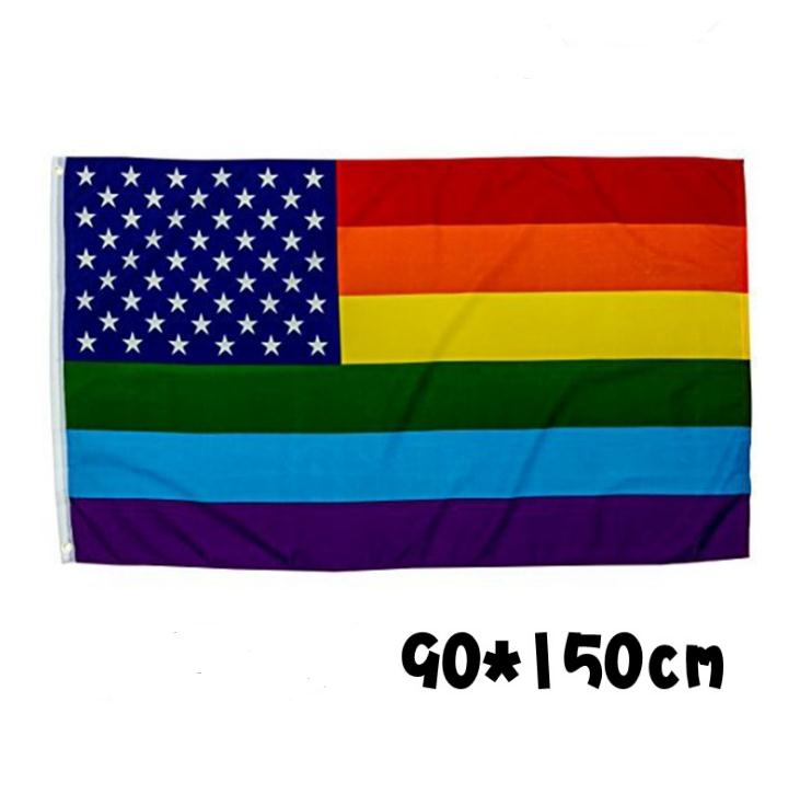 Party Flags American Rainbow Flag Polyester Banner Colorful <font><b>90*150</b></font> Cm Decoration Wear Resistant Creative Fashion SN1779 image
