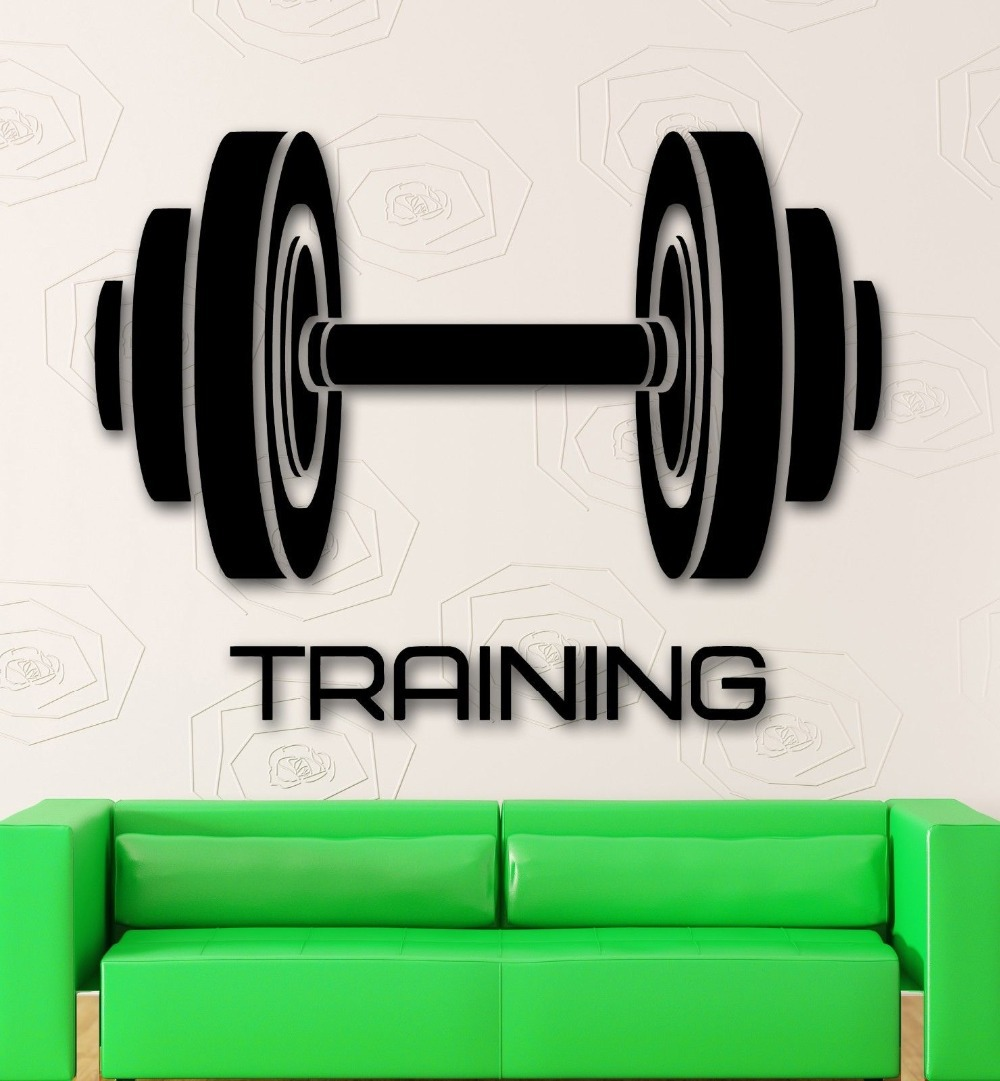 Etiqueta de la pared del vinilo deporte gimnasio entrenamiento Pesas fitness  INSPIRE 3f1c564420a52