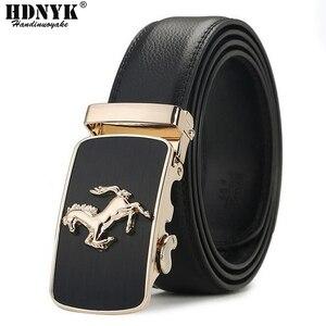 Image 1 - Cinturón de piel auténtica con hebilla automática para hombre, cinturones hebilla de aleación, de lujo