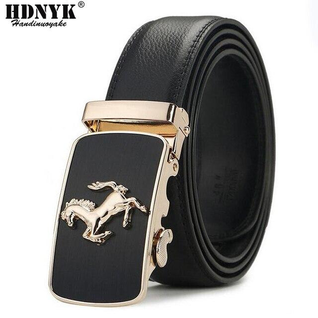 Hot Sell Brand Horse Designer Automatic Buckle Belt Men Genuine Leather Belt Man Luxury Men Belts Alloy Buckle Best As Gift