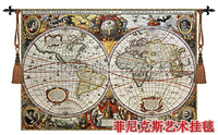 Beautiful Tapestry Wall Hanging World Map Big Size 140 97cm Home Decoration Jacauard Fabric Antique Furniture
