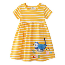 Girls Dress Cartoon Short Sleeve Summer for Baby Kids Clothing New Fashion Princess with Birds Unicorn